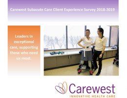 Carewest Subacute Units Client Experience Survey 2018